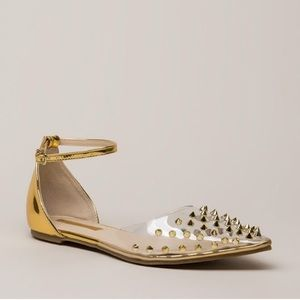 Shoes - Clearly Edgy Spiky Strappy Studded Flats